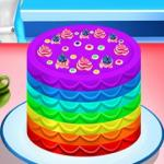 Elsa Cooking Rainbow Cake
